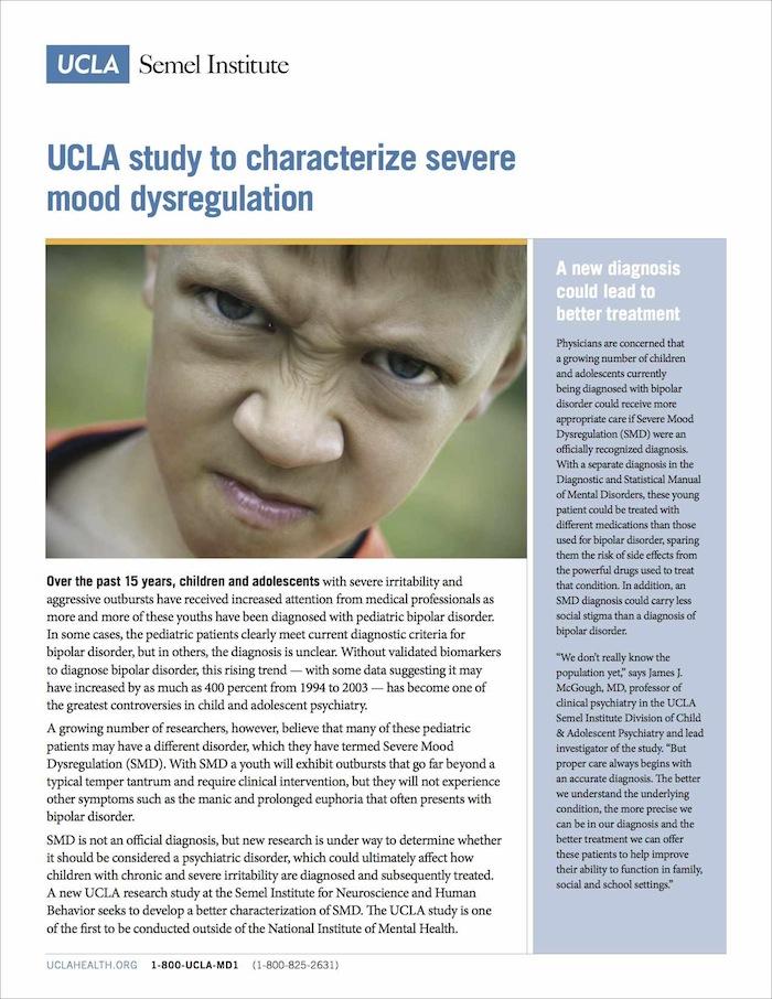 UCLA study to characterize sever mood dysregulation